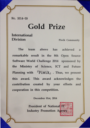 Piwik awarded Gold Prize at Open Source Software World