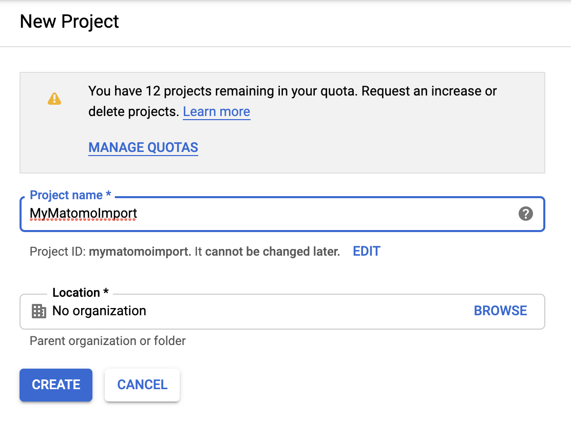 New Google Project For Import